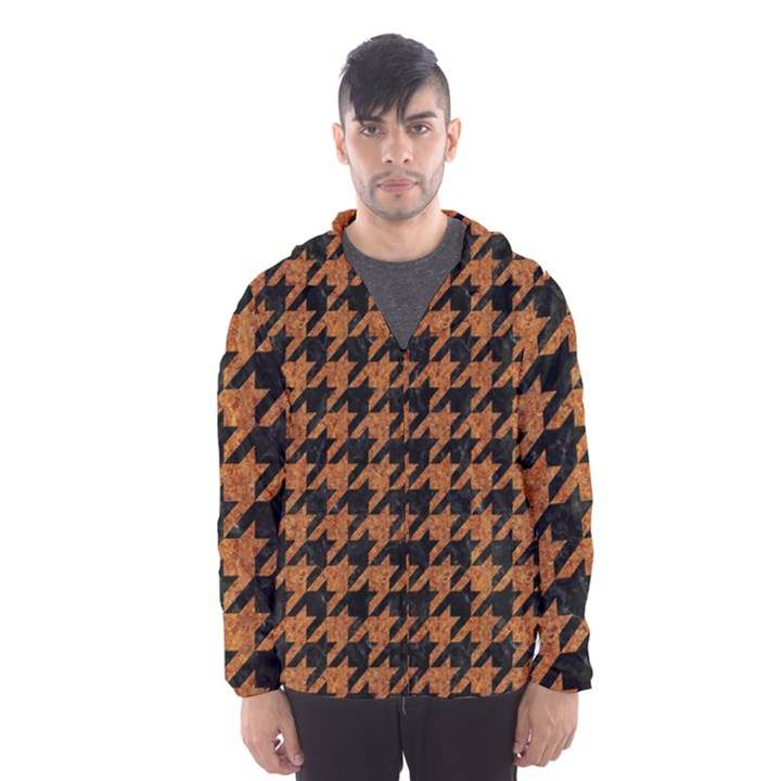 HOUNDSTOOTH1 BLACK MARBLE & RUSTED METAL Hooded Wind Breaker (Men)