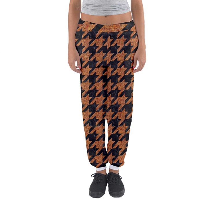 HOUNDSTOOTH1 BLACK MARBLE & RUSTED METAL Women s Jogger Sweatpants