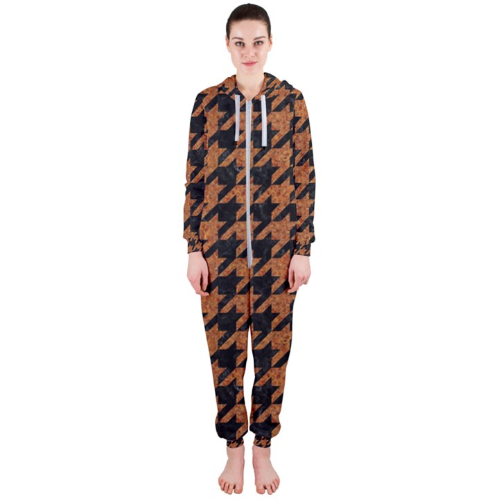HOUNDSTOOTH1 BLACK MARBLE & RUSTED METAL Hooded Jumpsuit (Ladies)