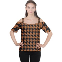Houndstooth1 Black Marble & Rusted Metal Cutout Shoulder Tee