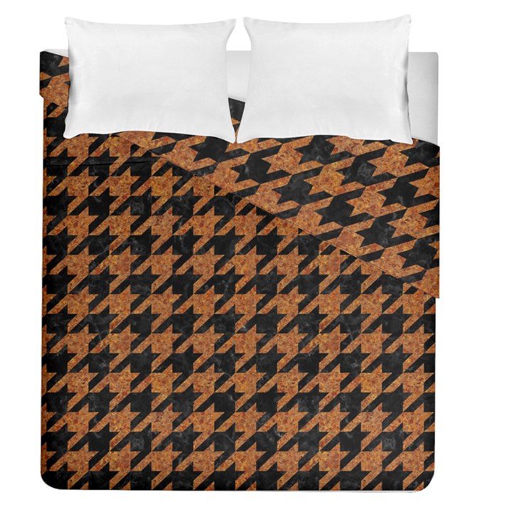 HOUNDSTOOTH1 BLACK MARBLE & RUSTED METAL Duvet Cover Double Side (Queen Size)
