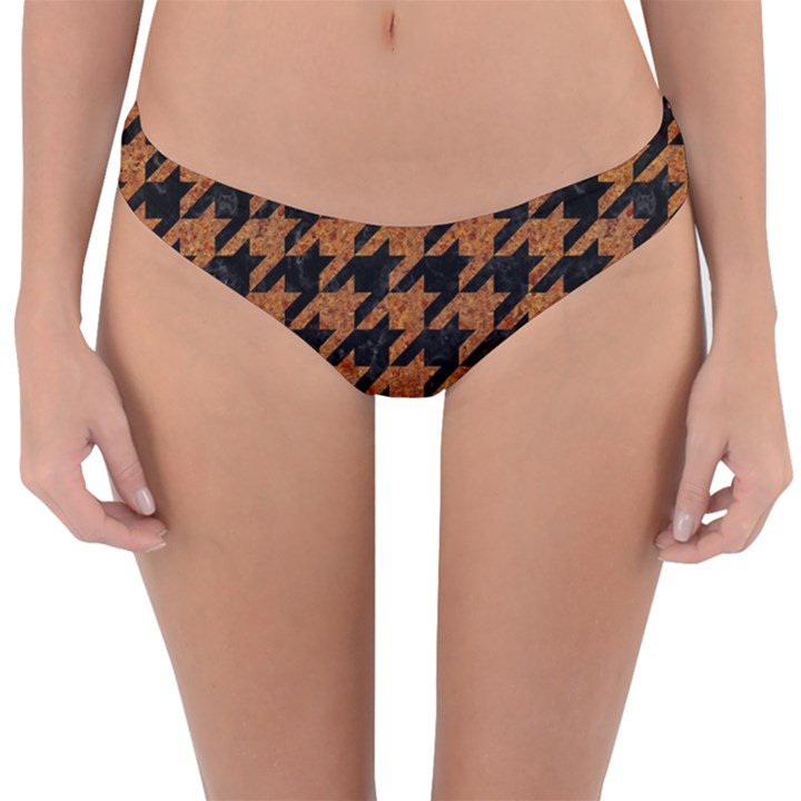 HOUNDSTOOTH1 BLACK MARBLE & RUSTED METAL Reversible Hipster Bikini Bottoms