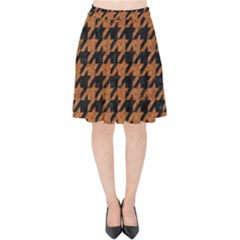 Houndstooth1 Black Marble & Rusted Metal Velvet High Waist Skirt