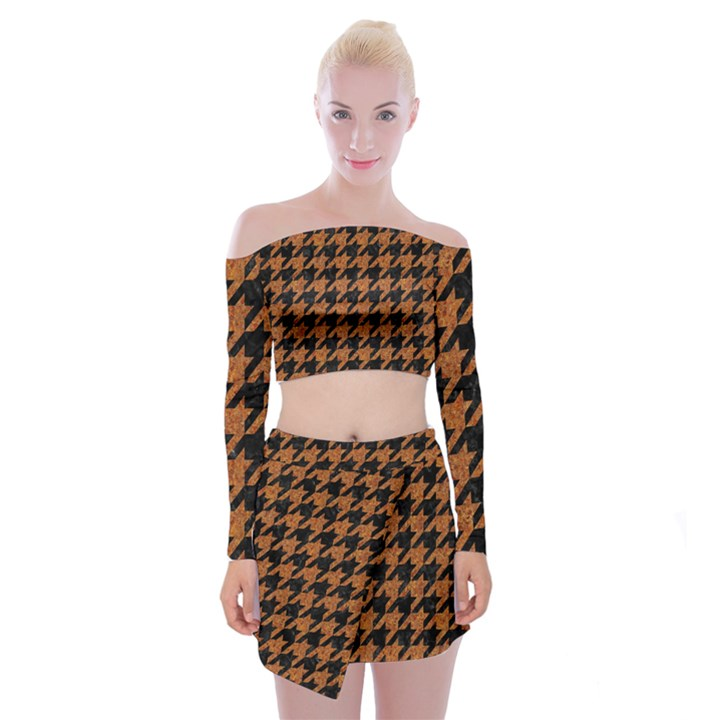 HOUNDSTOOTH1 BLACK MARBLE & RUSTED METAL Off Shoulder Top with Mini Skirt Set