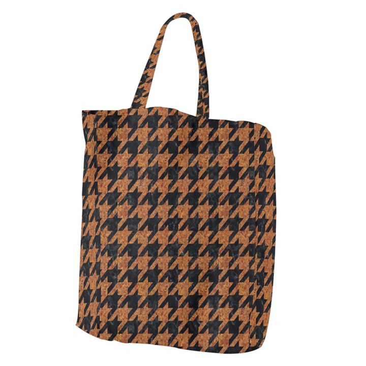 HOUNDSTOOTH1 BLACK MARBLE & RUSTED METAL Giant Grocery Zipper Tote