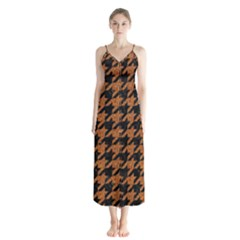 Houndstooth1 Black Marble & Rusted Metal Button Up Chiffon Maxi Dress