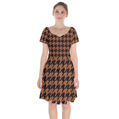 Houndstooth1 Black Marble & Rusted Metal Short Sleeve Bardot Dress