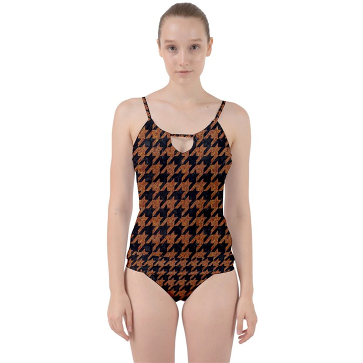 HOUNDSTOOTH1 BLACK MARBLE & RUSTED METAL Cut Out Top Tankini Set