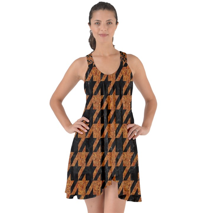 HOUNDSTOOTH1 BLACK MARBLE & RUSTED METAL Show Some Back Chiffon Dress