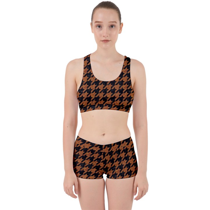 HOUNDSTOOTH1 BLACK MARBLE & RUSTED METAL Work It Out Sports Bra Set