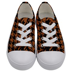 Houndstooth1 Black Marble & Rusted Metal Kids  Low Top Canvas Sneakers
