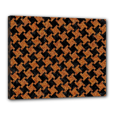 Houndstooth2 Black Marble & Rusted Metal Canvas 20  X 16