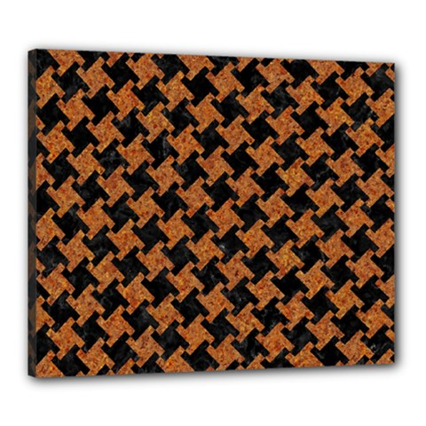 Houndstooth2 Black Marble & Rusted Metal Canvas 24  X 20
