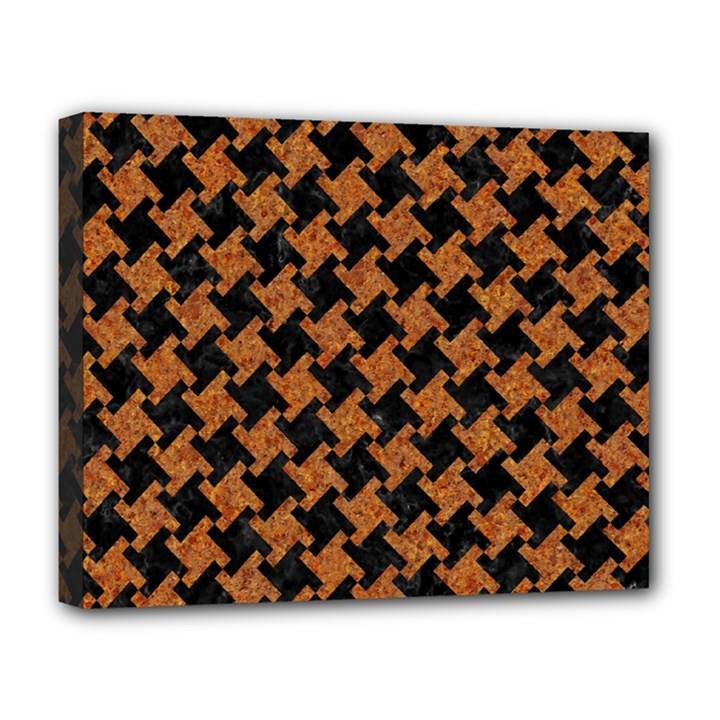 HOUNDSTOOTH2 BLACK MARBLE & RUSTED METAL Deluxe Canvas 20  x 16