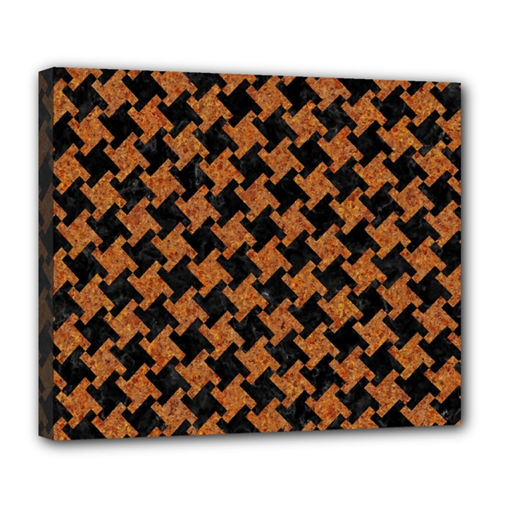HOUNDSTOOTH2 BLACK MARBLE & RUSTED METAL Deluxe Canvas 24  x 20