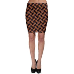 Houndstooth2 Black Marble & Rusted Metal Bodycon Skirt