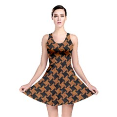 Houndstooth2 Black Marble & Rusted Metal Reversible Skater Dress