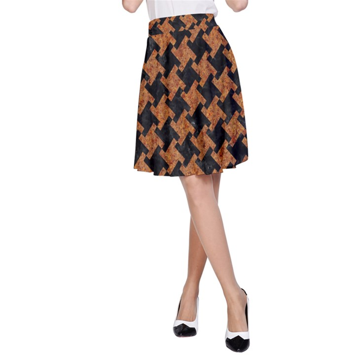 HOUNDSTOOTH2 BLACK MARBLE & RUSTED METAL A-Line Skirt