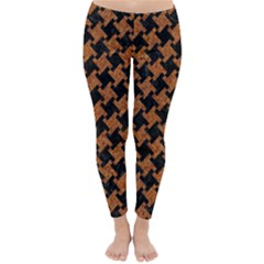Houndstooth2 Black Marble & Rusted Metal Classic Winter Leggings