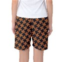 HOUNDSTOOTH2 BLACK MARBLE & RUSTED METAL Women s Basketball Shorts View2