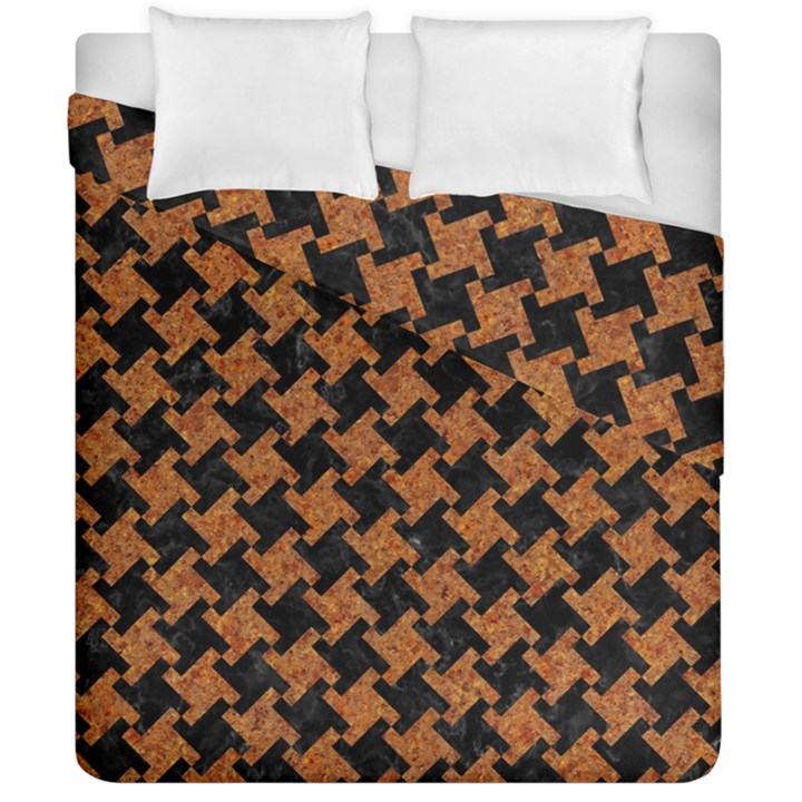 HOUNDSTOOTH2 BLACK MARBLE & RUSTED METAL Duvet Cover Double Side (California King Size)