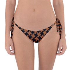 Houndstooth2 Black Marble & Rusted Metal Reversible Bikini Bottom
