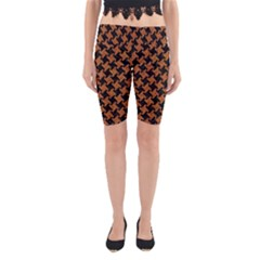 Houndstooth2 Black Marble & Rusted Metal Yoga Cropped Leggings