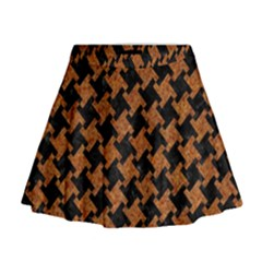 Houndstooth2 Black Marble & Rusted Metal Mini Flare Skirt