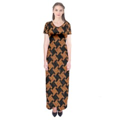 Houndstooth2 Black Marble & Rusted Metal Short Sleeve Maxi Dress