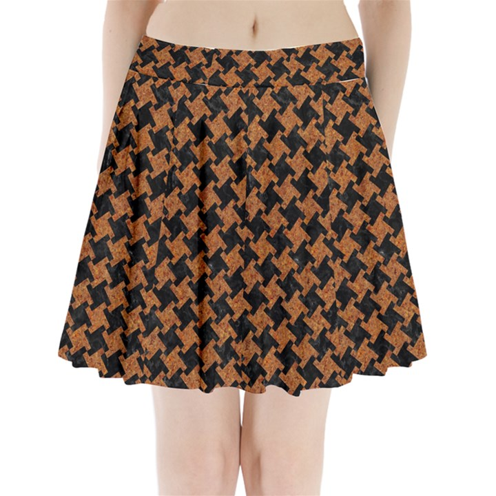 HOUNDSTOOTH2 BLACK MARBLE & RUSTED METAL Pleated Mini Skirt