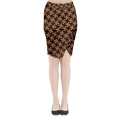 Houndstooth2 Black Marble & Rusted Metal Midi Wrap Pencil Skirt