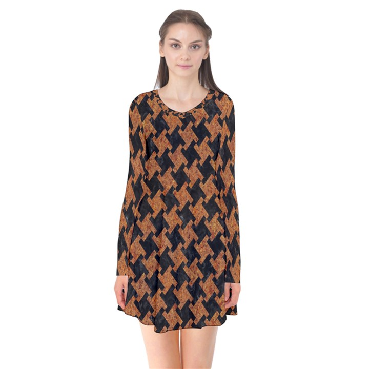 HOUNDSTOOTH2 BLACK MARBLE & RUSTED METAL Flare Dress