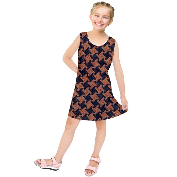 HOUNDSTOOTH2 BLACK MARBLE & RUSTED METAL Kids  Tunic Dress