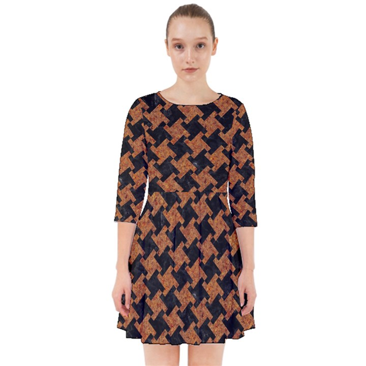 HOUNDSTOOTH2 BLACK MARBLE & RUSTED METAL Smock Dress