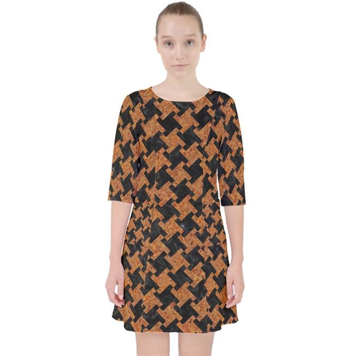 HOUNDSTOOTH2 BLACK MARBLE & RUSTED METAL Pocket Dress