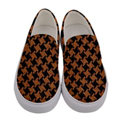 Houndstooth2 Black Marble & Rusted Metal Women s Canvas Slip Ons