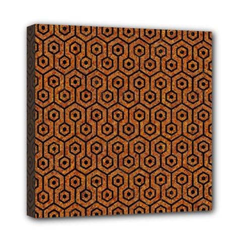 Hexagon1 Black Marble & Rusted Metal Mini Canvas 8  X 8