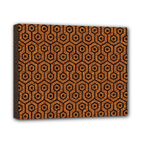 HEXAGON1 BLACK MARBLE & RUSTED METAL Canvas 10  x 8