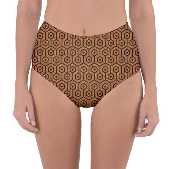 HEXAGON1 BLACK MARBLE & RUSTED METAL Reversible High-Waist Bikini Bottoms