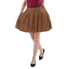 Hexagon1 Black Marble & Rusted Metal A Line Pocket Skirt