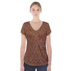 HEXAGON1 BLACK MARBLE & RUSTED METAL Short Sleeve Front Detail Top