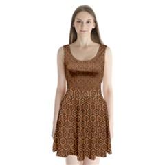Hexagon1 Black Marble & Rusted Metal Split Back Mini Dress