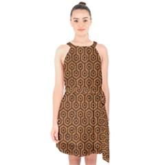 Hexagon1 Black Marble & Rusted Metal Halter Collar Waist Tie Chiffon Dress