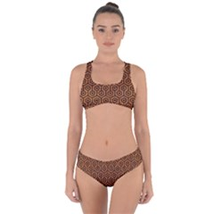 Hexagon1 Black Marble & Rusted Metal Criss Cross Bikini Set