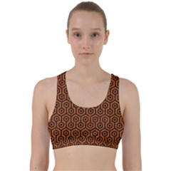 Hexagon1 Black Marble & Rusted Metal Back Weave Sports Bra by trendistuff