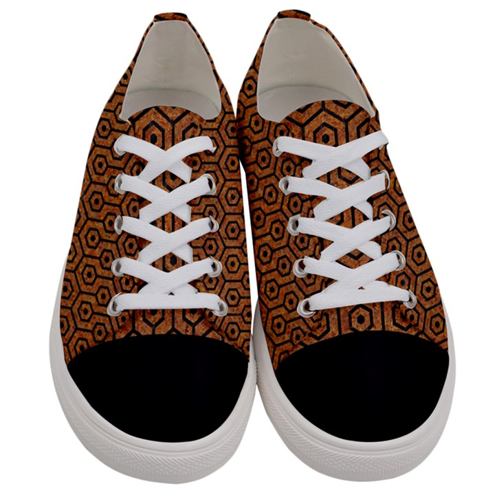 HEXAGON1 BLACK MARBLE & RUSTED METAL Women s Low Top Canvas Sneakers