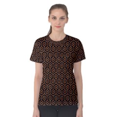 Hexagon1 Black Marble & Rusted Metal (r) Women s Cotton Tee