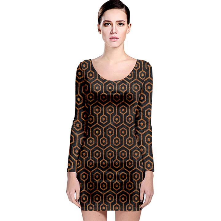 HEXAGON1 BLACK MARBLE & RUSTED METAL (R) Long Sleeve Bodycon Dress