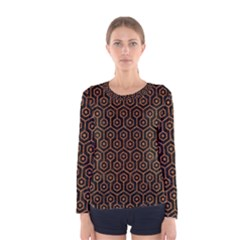 Hexagon1 Black Marble & Rusted Metal (r) Women s Long Sleeve Tee by trendistuff