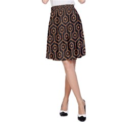 HEXAGON1 BLACK MARBLE & RUSTED METAL (R) A-Line Skirt